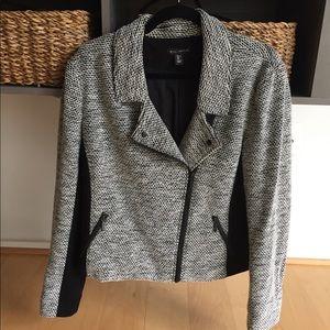 Black & White Tweed, Zipper Motto Jacket, L